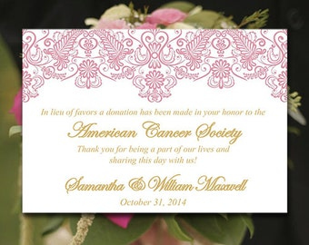 "Wedding Favor Donation Card Template - Lace Wedding Charity Favor Donation Card ""Chantilly"" Rose Petal Gold Wedding Favor - DIY Wedding"
