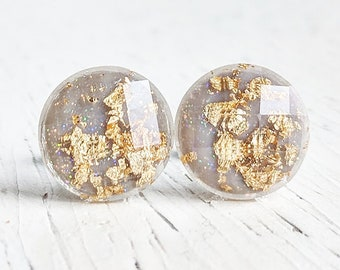 Grey with Gold Flakes Stud Earrings, Gray Gold Leaf Earrings, Grey and Gold, Minimalist Studs, Gold Stud Earrings, Hypoallergenic Earrings