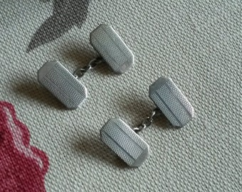 1930s Art Deco Silver Cuff Links Engine Turned