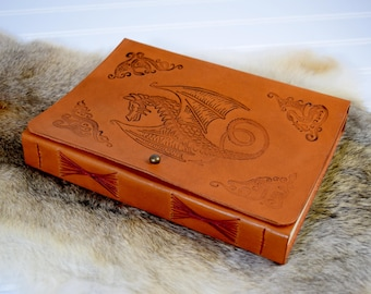 Dragon Leather Journal Personalized with Name // Custom Leather Book with Fantasy Dragon
