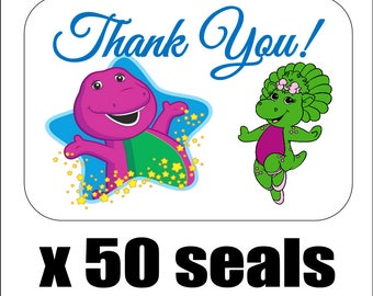 """50 Barney and Baby Bop Thank You Envelope Seals / Labels / Stickers, 1"""" by 1.5"""""""