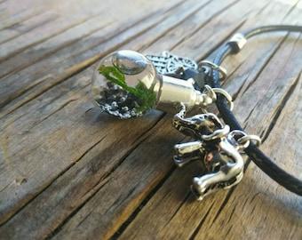 Marimo and Java Moss Charm Bracelet - Live Aquatic Plants Terrarium Charm - Hamsa and Elephant