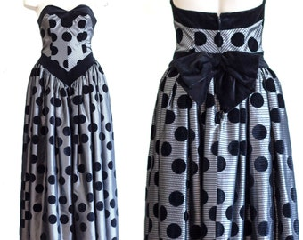 Strapless gray ball gown with velvet polka dots from Terence Nolder