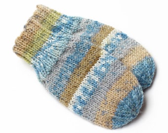Baby Mittens. No Thumb Baby Mitts. Infant Thumbless Hand Warmers. Unisex Winter Mittens With or Without Cord. 9 to 12 Months. Blue and Tan