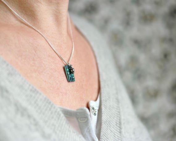Teal pendant on a sterling silver chain 'Tilia', handmade Japanese patterned pendant and silver tassel