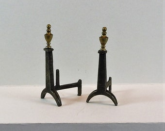 Dollhouse Miniature accessory in twelfth scale or 1:12 scale; Pair of Charleston, SC Andirons, circa 1795 with Brass Finials.  Item #D105.