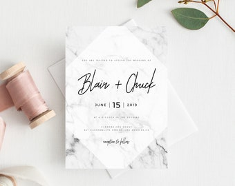 INSTANT DOWNLOAD Wedding Invitation Template, Printable Wedding Invitation Suite, Marble Wedding Invitation, Invitation Set, Templett, W07