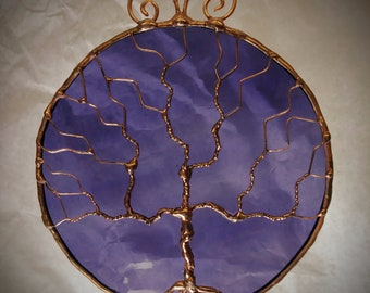 Tree of Life Stained Glass Ornament and Suncatcher Purple Iridescent Glass and Copper Patina