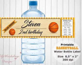 Basketball water bottle label, Basketball party wrap, Game party label, Basketball labels, Basketball wrap, Printable labels, Personalized