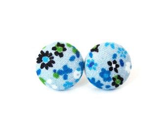 Bright blue earrings - floral fabric earrings - tiny button earrings - stud earrings black green