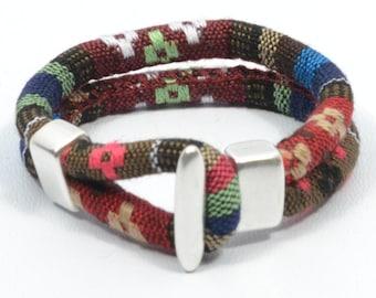 Boho ethnic bracelet, brown woven bracelet, surfer bracelet, friendship bracelet, beach jewelry, fabric cuff bracelet, ethnic pattern