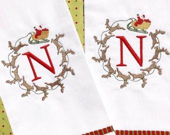 Monogrammed Christmas Tea Towel