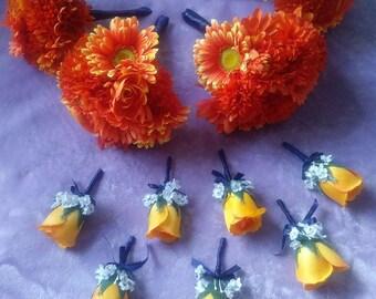 Orange gerbera daisies bridesmaids bouquet