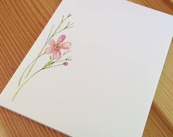 Water Buttercup Wildflower Floral Notepad - Small Watercolor Notepad - 4 x 5 Handmade Botanical Notepad - Gardener Gift - 40 Sheet Notepad