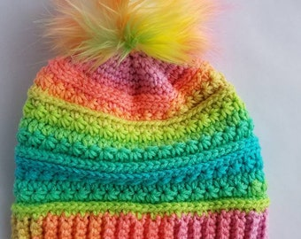 Rainbow hat - fur pom pom hat - winter hat - adult hat
