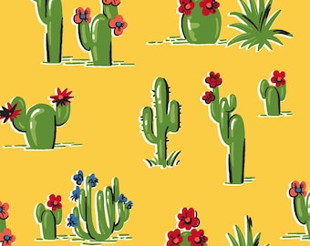 South of the Border, Blooming Cactus - By Another Point of View for Windham Fabrics - 43470 Yellow  - Priced by the Half Yard