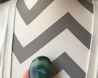 55mm Oval Shaped Peacock Green Agate Pendant Bead