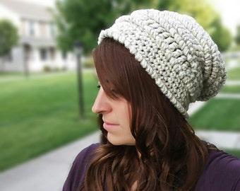 CROCHET PATTERN PDF  - Slouchy Chunky Textured Crocheted Beanie - Men's hat, Women's beanie, Teen beanie, Hipster Hat, instant download