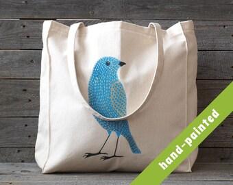 Canvas Tote bag / bird bag/ Bird Totes / Hand Painted Tote / Bird Gifts / Cotton Tote Bag / Eco bag/ Birds / Blue Bird / Bird Eco Bag