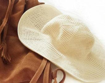 Summer Wide Brim Floppy Hat. Crochet Vanilla Ecru Cloche. Women Beach Cotton Hat. Sun Protection Hat for Her by dodofit on Etsy