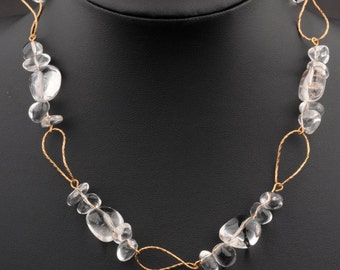 On Sale: 10% off.Transparent Necklace,  Quartz Uneven Beads, GF Wire Curves , Elegant, Bridal, Wedding, For Formal Occasions