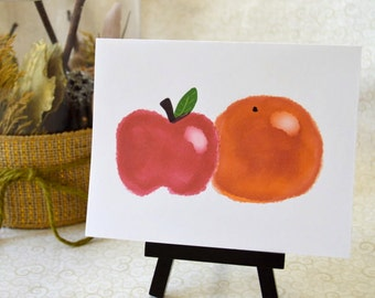 Apple and Orange Blank Notecard Set