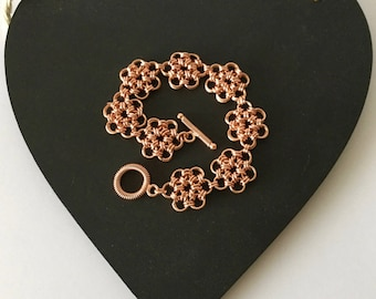 Japanese Chainmaille bracelet in Rose Gold