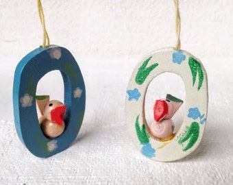 2 Vintage Easter Ornaments or Spring Decorations , 2 Tiny Bird Ornaments, Hand Painted Wood Easter Ornaments, Vintage Easter Decoration