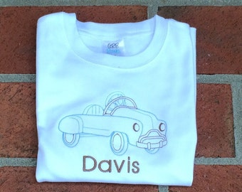 Boys long or short sleeve vintage embroidery car tee / youth personalized tshirt / toddler tee shirt