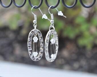 """Silver beaded drop earrings - """"Tammy"""""""