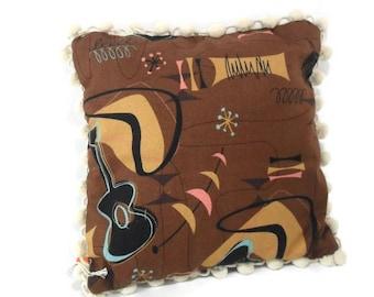 Barkcloth Accent Pillow * Retro Tiki 'Jetson' * New Fabric * Mid Century Atomic