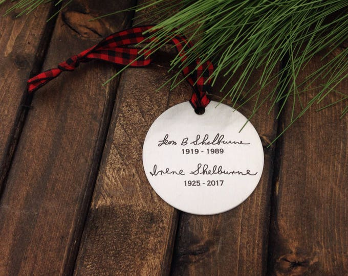 NEW!! Handwritten Engraved Ornament -Two Inch Stainless Steel Circle- Use Your Handwriting, or Custom Text  or Both! - 2017 Gifts For Family