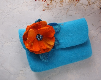 Blue clutch purse handmade-Felted wool bag-women croosbody purse-women coin purse-wool handmade bag purse-Fanny pack-turquoise-Orange