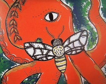 Quality Octopus and moth coloured 30gsm Awesome merchandise print from original acrylic painting signed.