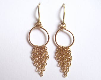 Round gold-fill earrings with chain