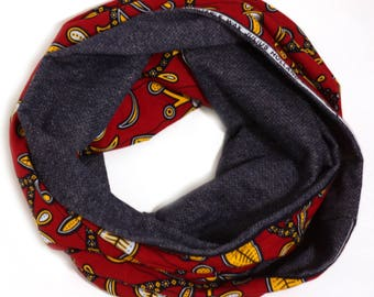 Ankara Infinity Scarf, Reversible Hood Scarf, Jersey African Print Scarf, Made in NC