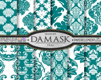 Teal Digital Paper: Teal Damask Digital Paper, Teal Blue Damask, Teal Green Damask, Teal Damask Background, Teal Damask Instant Download