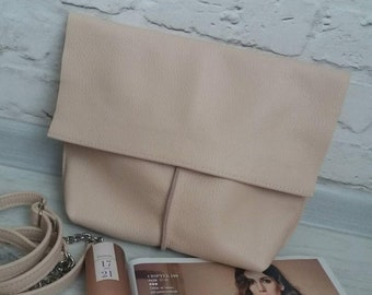 Leather shoulder bag Biege Leather Crossbody Bag Handmade Women Powder Leather Shoulder Bag  Medium Leather Handbag Women Bag Purse Leather