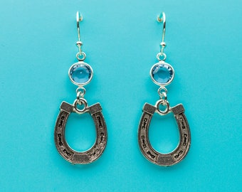Horseshoe Earrings, Horse Shoe Earrings, Good Luck Symbol, Aqua Crystal Earrings, Dangle Earrings, Gifts for Her, 190