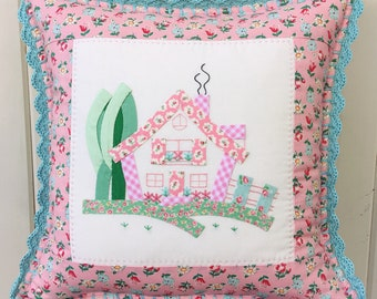 """a sweet pink cottage pillow cover 14"""""""