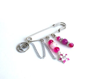 Pink beaded safety pin brooch, beaded charm safety pin brooch