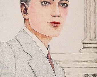 Vintage 1930s Outsider Art Pen & Ink Portrait Of A Dandy Signed Murdoch 1937