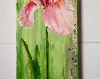 Pink iris - knife oil painting - painting figurative Valentine's gift