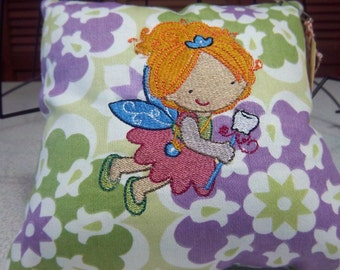 1060  Purple, Green and White Tooth Fairy Pillow