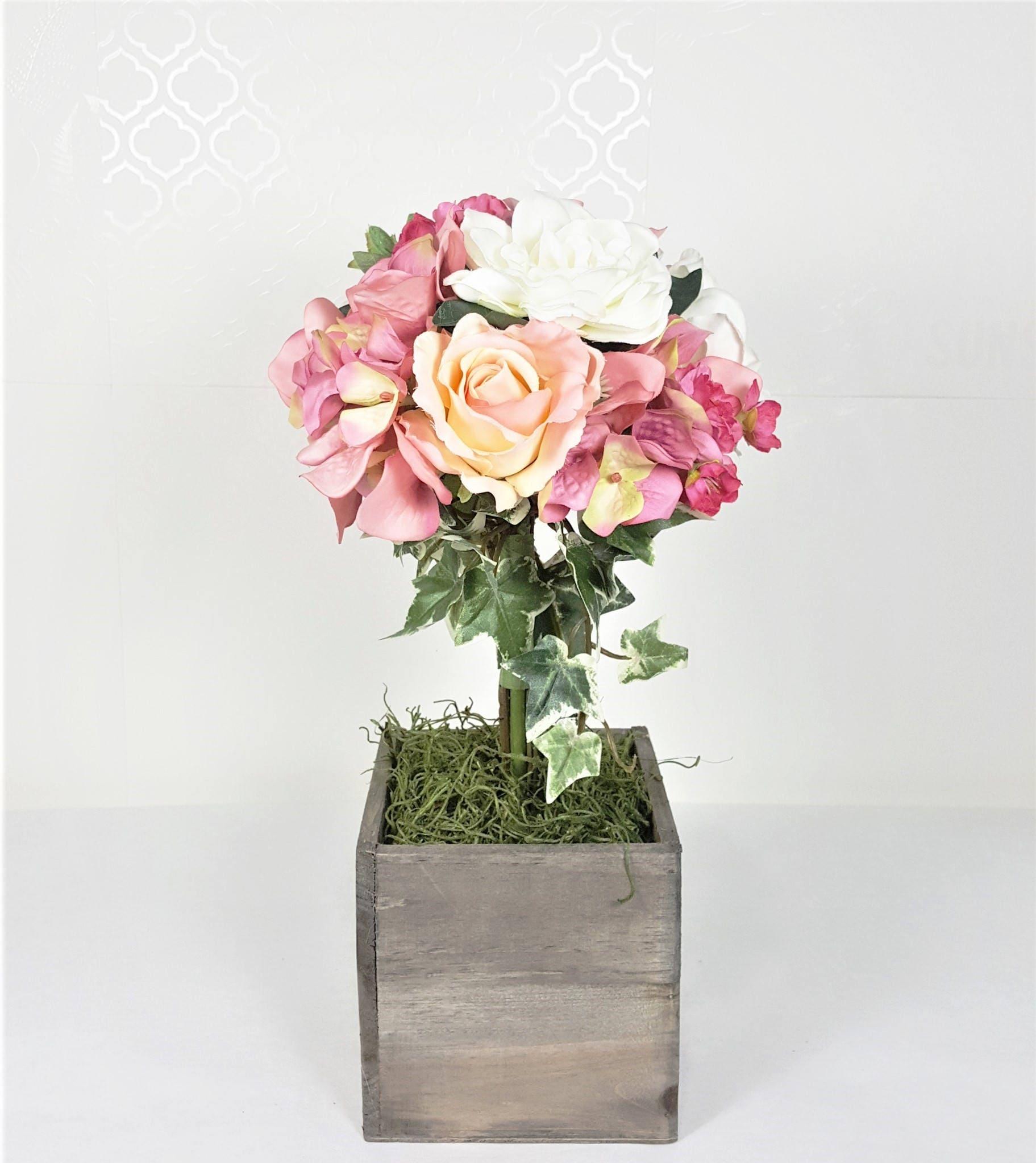 Topiary silk flower arrangement. Wedding centerpiece. Spring