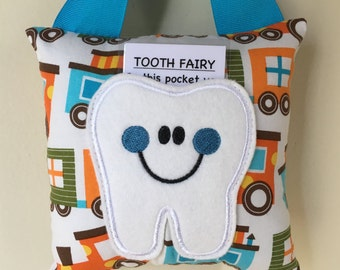 Tooth Fairy Pillow- Train Fabric Print Pillow with Blue Ribbon - Kids Pillow - Kids Gift