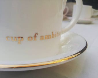 Gold and white Dolly Parton Cup of Ambition Saucer.  Fine Bone China made in UK. Gift for Country Music Fan.Gift for New Job
