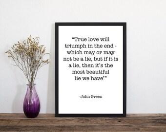 John Green Quote Print, Wall Art, Art Print, Typography Poster, Scandinavian Art, Minimalist Print, Literary Print, Literary Quote