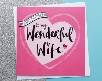 Romantic gift wife etsy wife birthday card romantic wife card romantic birthday card wife gift card bookmarktalkfo Choice Image