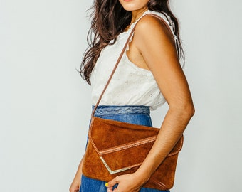 Vintage Brown Suede Envelope Shoulder Bag